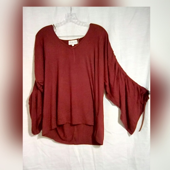 Tops - Thyme & Honey Women's Top Sz L Bordeaux